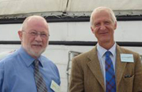 Professor Ian Duncan, University of Guelph (l), and Dr James Kirkwood, UFAW Chief Executive and Scientific Director, on board HMS Warrior, Portsmouth Historic Dockyard, for the presentation of the UFAW Medal for Outstanding Contributions to Animal Welfare Science.