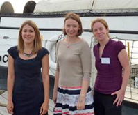 The winners of the 2011 UFAW Young Animal Welfare Scientist  of the Year award 2011 (l to r) Lucy Asher, Lisa Collins, Emma Baxter.